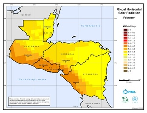 Central America - February Global Horizontal Solar Radiation
