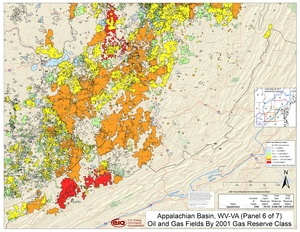 Appalachian Basin, Southern West Virginia and Southwestern Virginia By 2001 Gas Reserve Class