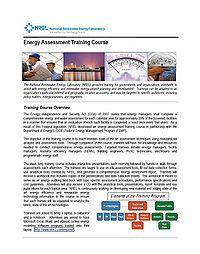 NREL Energy Assessment Training Course Screenshot