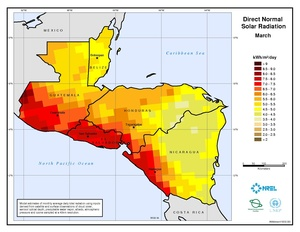 Central America - March Direct Normal Solar Radiation