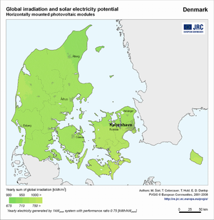 Denmark global irradiation and solar electricity potential (horizontally-mounted photovoltaic modules)