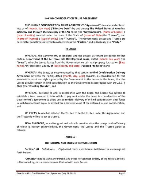 Fileair Force Generic In Kind Consideration Trust Agreementpdf