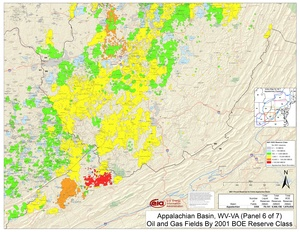 Appalachian Basin, Southern West Virginia and Southwestern Virginia By 2001 BOE Reserve Class