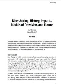 Bike-Sharing:History, Impacts, Models of Provision, and Future Screenshot