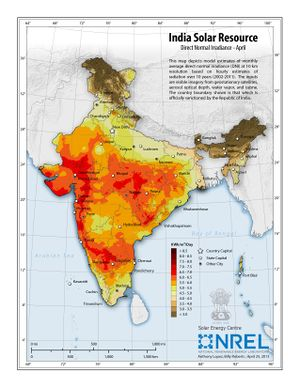 India Solar Resource - Direct Normal Irradiance - April