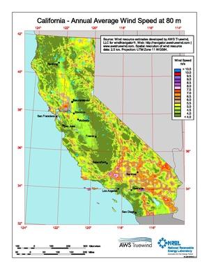 California Annual Average Wind Speed at 80 Meters