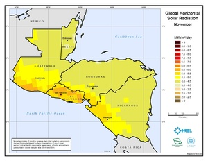 Central America - November Global Horizontal Solar Radiation