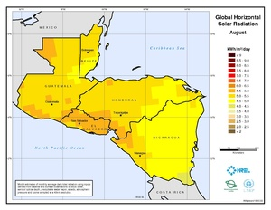 Central America - August Global Horizontal Solar Radiation