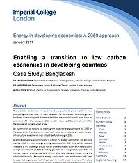Enabling a Transition to Low Carbon Economies in Developing Countries: Bangladesh Screenshot