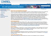 NREL-LCI Database Project Screenshot
