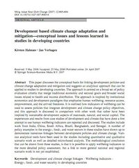 Development based climate change adaptation and mitigation—conceptual issues and lessons learned in studies in developing countries Screenshot