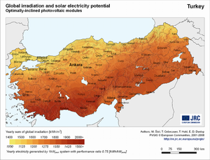 Ukraine global irradiation and solar electricity potential (optimally-inclined photovoltaic modules)