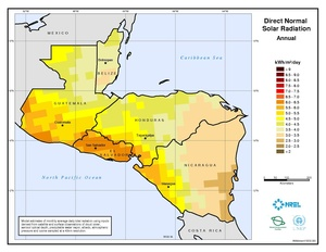 Central America - Annual Direct Normal Solar Radiation