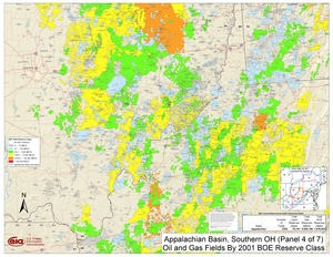 Appalachian Basin, Southern Ohio, Southwestern Pennsylvania, and Northwestern West Virginia By 2001 BOE Reserve Class