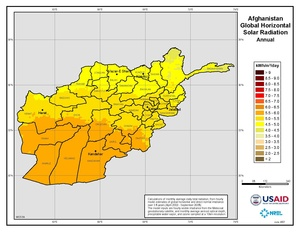 Afghanistan - Annual Global Horizontal Solar Radiation