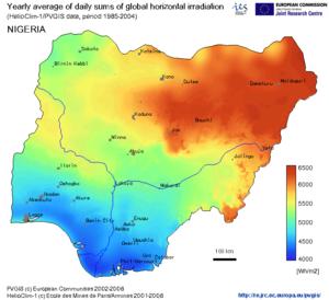 Global Horizontal Irradiation in Nigeria