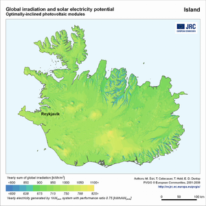 Iceland global irradiation and solar electricity potential (optimally-inclined photovoltaic modules)