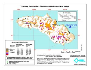 Sumba, Indonesia - Favorable Wind Resource Areas