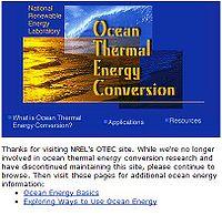 NREL-Ocean Energy Thermal Conversion Screenshot