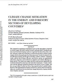 Climate Change Mitigation in the Energy and Forestry Sectors of Developing Countries Screenshot