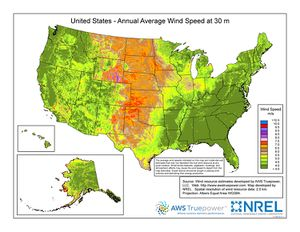 U.S. Annual Average Wind Speed at 30m