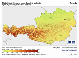 Austria global irradiation and solar electricity potential (optimally-inclined photovoltaic modules)