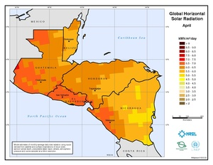 Central America - April Global Horizontal Solar Radiation