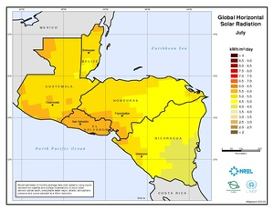 Central America - July Global Horizontal Solar Radiation