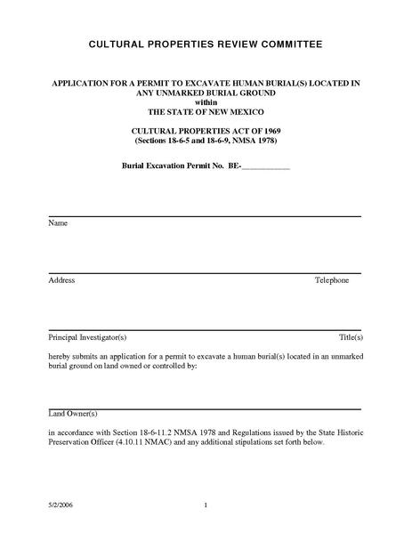File:NMHPD Application for Permit to Excavate Human Burials.pdf