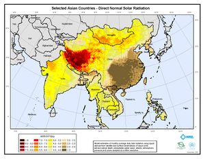 Selected Asian Countries - Annual Direct Normal Solar Radiation (JPG)