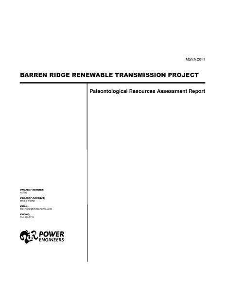 File:Barren Ridge FEIS-Volume IV Paleo Tech Rpt Final March 2011.pdf