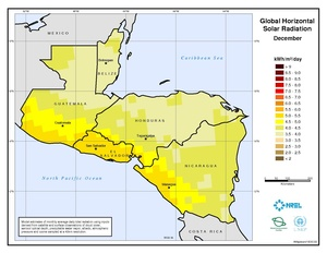 Central America - December Global Horizontal Solar Radiation