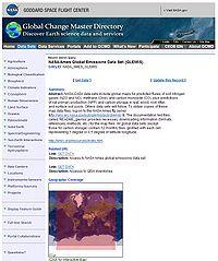 NASA/Ames Global Emissions Data Set (GLEMIS) Screenshot