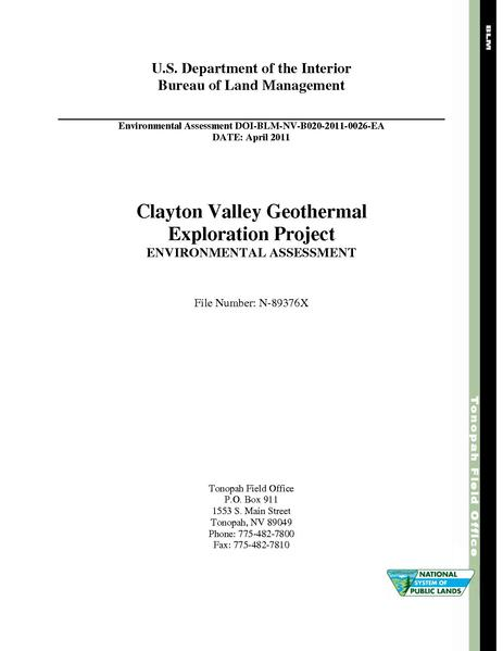 File:EA DOI-BLM-NV-B020-2011-0026-EA-ClaytonValley.pdf