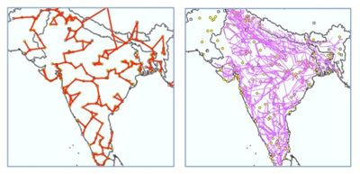 Results comparing synthetic grid (left) to available mapped grid lines (right) for India, Nepal and Bangladesh.