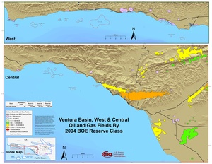 Ventura Basin, West and Central Parts By 2001 BOE Reserve Class
