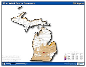Michigan 50m Wind Resource (PDF)