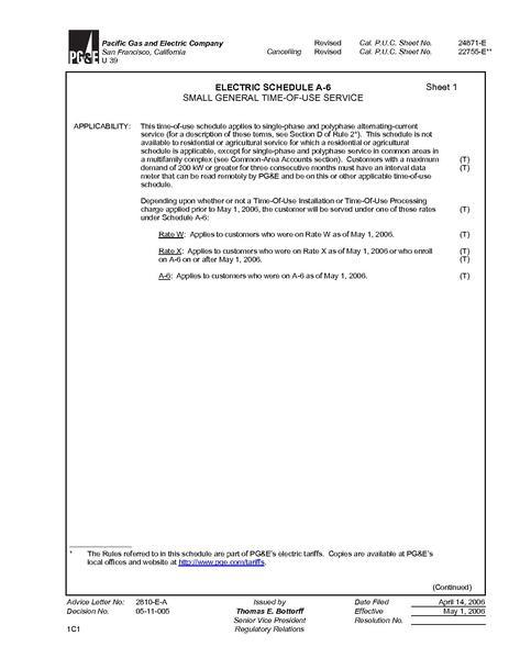 File:Utility Rate San Francisco Small Gen TOU ELEC SCHEDS A-6.pdf