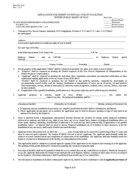 File:NMDOT Application for Permit to Install Utility Facilities Within Public ROW.pdf