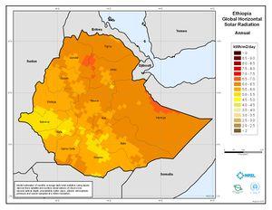 Ethiopia - Annual Global Horizontal Solar Radiation