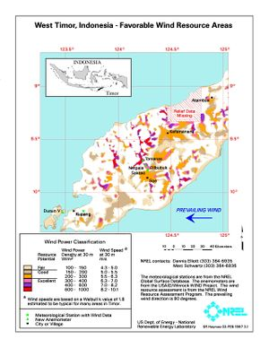 West Timor, Indonesia - Favorable Wind Resource Areas