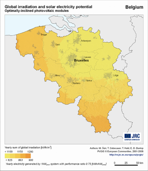 Belgium global irradiation and solar electricity potential (optimally-inclined photovoltaic modules)