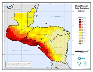 Central America - February Direct Normal Solar Radiation