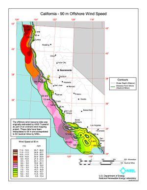 California - 90 Meter Offshore Wind Speed
