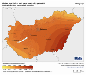 Hungary global irradiation and solar electricity potential (optimally-inclined photovoltaic modules)