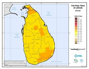 Solar: monthly and annual average latitude tilt GIS data at 40km for Sri Lanka from NREL