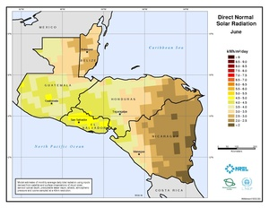 Central America - June Direct Normal Solar Radiation