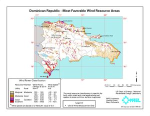 Dominican Republic - Most Favorable Wind Resource Areas