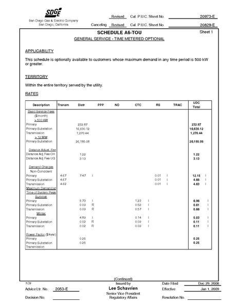 File:Utility Rate San Diego SDGE TM Optional ELEC ELEC-SCHEDS A6-TOU.pdf