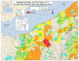 Appalachian Basin, Northern Ohio, Southwestern New York, and Western Pennsylvania By 2001 Gas Reserve Class